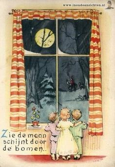 Zie de maan schijnt door de bomen See the Moon Shining Through the Trees. Vintage Christmas Cards, Christmas Greeting Cards, Christmas Art, Vintage Cards, Christmas And New Year, Vintage Paper, Vintage Postcards, I Love Winter, The Night Before Christmas