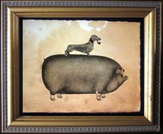 Dachshund Wiener Dog Riding Pig Vintage by TeaStainedMadness