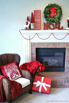 A Red and White Christmas Mantle Christmas Mantels, Cozy Christmas, Simple Christmas, All Things Christmas, Christmas Holidays, Christmas Decorations, Holiday Decorating, Christmas Trees, Christmas Crafts