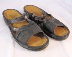 Naot Black Leather Sandals Size 41  US 10 #Naot #Slides