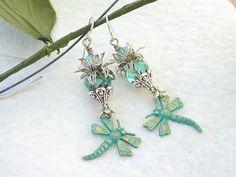 Dragonfly Charm Earrings Verdigris Dangles Victorian Style Dragonfly Earrings Art Nouveau Earrings Spring Summer Earrings