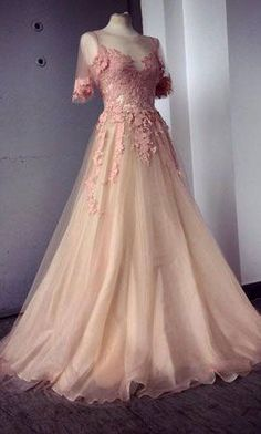 Lace Short Sleeve Tulle Prom Dresses,Long Prom Dresses,Cheap Prom Dresses,Lace Evening Dress Prom Gowns,YY441 · modern sky · Online Store Powered by Storenvy