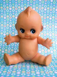 Vintage Kitsch Super Cute Cupie Doll Baby 8 inches tall by modpets, $12.00