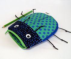 Pencil Bag by MinneBites / Boys Gift Toy Bag - Handmade Zipper Pouch - Boys Pencil Case - Green School Bag - Toddler Accessories