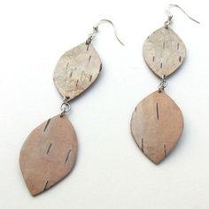 Birch bark earrings, $28