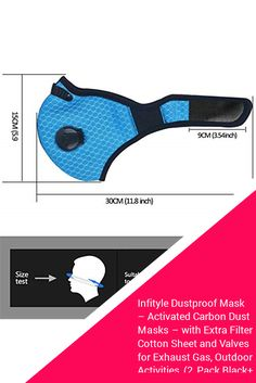 Infityle Dustproof Mask – Activated Carbon Dust Masks – with Extra Filter Cotton Sheet and Valves for Exhaust Gas, Outdoor Activities Pack Black+Black, Type Allergy Mask, Exhaust Gas, Cotton Sheets, Diy Mask, Sewing Patterns Free, Exhausted, Outdoor Activities, Type 1, Carbon Fiber