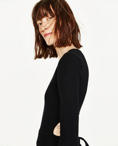 ZARA - WOMAN - CROPPED SWEATER WITH RIBBON