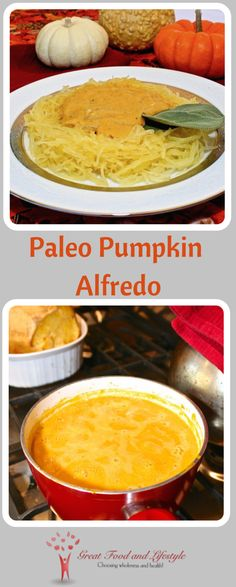 Paleo Pumpkin Alfredo is a healthy, delicious sauce or soup for the Fall!  I lost 8 sizes and reversed Type 2 Diabetes through diet and lifestyle.  For more healthy recipes follow me on Pinterest and subscribe to my blog at this link! #paleopumpkinsauce