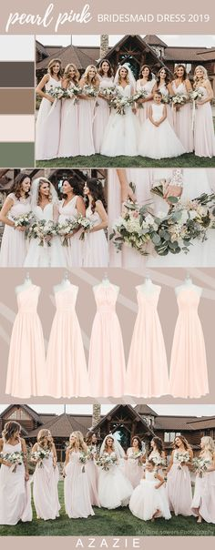 Choose your classic pearl pink bridesmaid gown from our selection. See Azazie's bridesmaids wearing pearl pink dresses and let yourself be inspired! Pink Bridesmaid Dress Colors, Pink Wedding Colors, Summer Bridesmaid Dresses, Azazie Bridesmaid Dresses, Bridesmaid Flowers, Best Wedding Dresses, Wedding Bridesmaids, Bride Dresses, Wedding Flowers