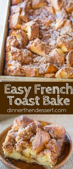 Easy French Toast Bake with no overnight chilling and all your favorite French Toast flavors you can serve to your family or a large crowd. Perfect with warm maple syrup. Toast Casserole Easy French Toast Bake - Dinner, then Dessert Breakfast Dishes, Best Breakfast, Breakfast Recipes, Breakfast Toast, Breakfast For A Crowd, Breakfast Casserole French Toast, French Toast Caserole, French Toast Bread Pudding, Breakfast Muffins