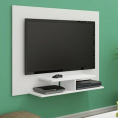 Painel para TV até 42 Polegadas 2 Prateleiras Jet Plus Artely Branco Bedroom Tv Unit Design, Tv Unit Furniture Design, Living Room Tv Unit Designs, Bedroom Cupboard Designs, Tv Wall Design, Tv Unit Decor, Tv Wall Decor, Tv Wall Panel, Backdrop Tv
