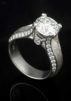 Juicy Light Engagement Ring in platinum with our Iced Platinum Mokume Gane and a 2.5ct round white diamond center stone