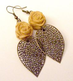 Two Roses Jewel Gold Polymer clay and antique brass by GothamChick, $12.00