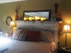 firplace mantel headboard | refurbished fireplace mantel as headboard | DIY & Crafty