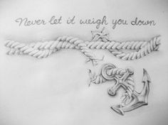 Never Let It Weigh You Down - Rope Anchor Tattoo Design