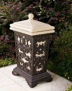 leaf scroll trash receptacle from horchow special touch for outdoor entertaining - Decorative Trash Cans