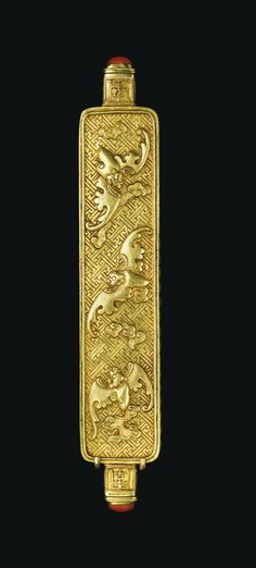 A FINE AND EXTREMELY RARE IMPERIAL TURQUOISE-INLAID DOUBLE-HEADED GOLD MEDICINE BOTTLE<br>SEAL MARKS AND PERIOD OF QIANLONG | Lot | Sotheby's
