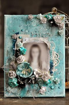 Mixed MEDIA frame DECOR!   Written materials used.  Polish needs translation to find out how!  She is Awe-Amazing!!!!