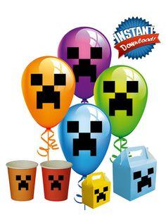 Minecraft Balloon Stickers, Minecraft Decorations, Party Favors, Balloon Stickers - Minecraft Party Instant Download on Etsy, $4.95