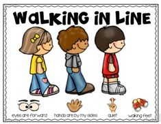 Walking in Line Emergent Reader and Visuals Walking in line emergent reader and posters are a great way to teach students procedures and expectations at the beginning of the year. Preschool Classroom Rules, Kindergarten Classroom Management, Classroom Rules Poster, Beginning Of Kindergarten, Classroom Procedures, Classroom Organisation, Classroom Behavior, Beginning Of The School Year, Teaching Kindergarten