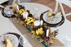 Love Of Family & Home: Fall Centerpiece & Napkin Ring Tutorials - Tablescape Details - you have got to check out how she made her napkin rings and what the centerpiece is made of! Christmas Tablescapes, Thanksgiving Decorations, Thanksgiving Feast, Holiday Decorations, Holiday Ideas, Deco Table Noel, Ring Tutorial, Teal Yellow, Welcome Fall