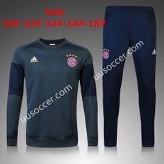2016/17  Bayern München Round Collar Gray Kids/Youth Soccer Tracksuit