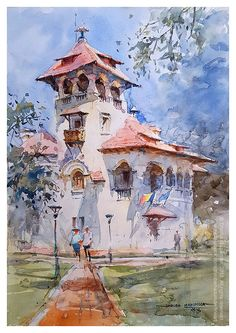Sunday sketching at The Dr. Nicolae Minovici Folk Art Museum, in Bucharest, Romania with the Urban Sketchers (Bucharest) group by Dhruba Mazumder, Watercolor Artists, Watercolor Landscape, Cities, Painters Studio, Urban Sketchers, Bucharest Romania, Art Museum, Folk Art, Art Drawings
