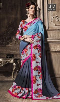 Tiptop Georgette Patch Border Work Casual Saree Be the sunshine of everyone's eyes dressed in this lovely multi colour georgette casual saree. The stunning patch border work a substantial feature of this attire. Comes with matching blouse.