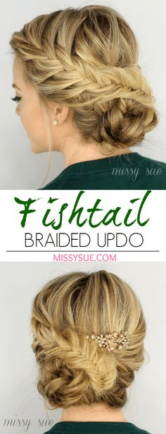 Fishtail Braided Updo. Great for date night, weddings, or almost any occasion.