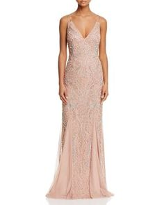 Aidan Mattox Beaded V-Neck Gown | Bloomingdale's
