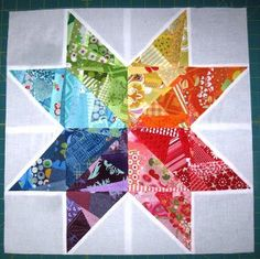 Scrappy Rainbow Star Quilt Block | FaveQuilts.com
