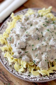 Ground Beef Stroganoff Beef stroganoff. Definitely a comfort food dish. For me, it's up on the list near fried chicken and okra. I love the humble roots of stroganoff. It isn't pretentious, it uses simple