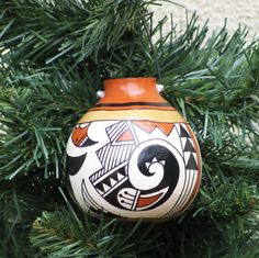 Southwestern Hand-painted Gourd Pot Ornament by AChristmasbyCarol