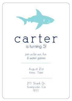 Shark Birthday Invitation Summer Party Themes Boy Invitations Invites