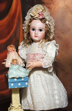 """*BEAUTIFUL STEINER FRENCH BISQUE """"FIGURE A"""" BEBE IN ~ in large size, Marks: Steiner Paris Fire A-17. 25"""", Bisque...."""