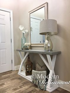 Just the right accent piece t… Stunning handmade rustic farmhouse entryway table. Just the right accent piece t…,Home Decor Stunning handmade rustic farmhouse entryway table. Rustic Farmhouse Entryway, Farmhouse Table, Rustic Sofa, Rustic Entry Table, Farmhouse Ideas, Decoration Hall, Entrance Table Decor, Accent Table Decor, Entryway Tables