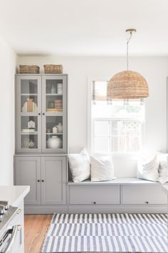 Ikea Built In, Dining Nook, Built In Dining Room Seating, Ikea Dining Room, Ikea Hemnes Living Room, Dining Room Cabinets, Ikea Wall Cabinets, Booth Seating In Kitchen, Living Room Decor Ikea