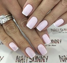 50 Awesome French Tip Nails to Bring Another Dimension to Your Manicure French tip nails are classic designs that have stood the test of time. The core idea of the French manicure is painting the tip of the nail in a color . Frensh Nails, Nail Manicure, Pink Nails, Cute Nails, Hair And Nails, Nail Polish, Pink Polish, Nails 2018, Coffin Nails