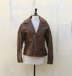 Vintage 195060s  Brown Leather Motorcycle Biker by Trustfund21, $185.00