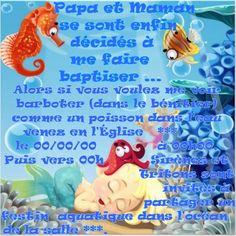 texte faire part baptême thème Mer et poisson