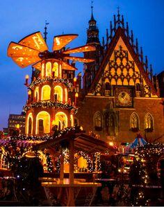 Poland , square Wroclaw - Chrismas market by Bartosz Budzon