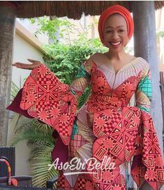 Ankara Skirt and Blouse Styles for Wedding 2019 Diyanu - Aso Ebi Styles Nigerian Dress Styles, Ankara Gown Styles, Latest Ankara Styles, Nigerian Lace, African Print Fashion, Africa Fashion, African Fashion Dresses, Nigerian Fashion, African Attire