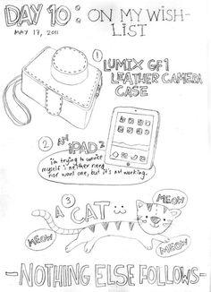 Esta página está mirando escasa en comparación con los otros dibujos en mis 30 días de Listas.  Bendito querer no hay mucho más en la vida (por el momento), excepto ellos.  No puedo encontrar una funda de cuero agradable para mi cámara aquí en Manila!  (El iPad y el gato están en camino a mí en un par de semanas y al año siguiente, respectivamente: 3)