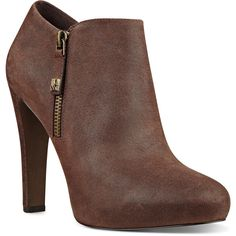 Nine West Binnie Almond Toe Booties (£90) ❤ liked on Polyvore featuring shoes, boots, ankle booties, booties, ankle boots, dark brown leather, dark brown ankle boots, short leather boots, high heel ankle boots and leather booties