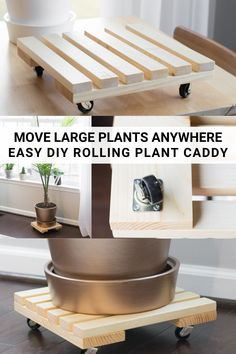Learn how to build a DIY rolling plant caddy. Building an easy rolling plant stand is an easy way to keep large plants mobile. Plant Stand With Wheels, Wood Plant Stand, Plant Stands, Small Wood Projects, Diy Art Projects, Outdoor Projects, Outdoor Decor, Diy Furniture Plans, Diy Furniture Projects