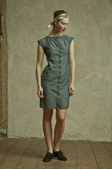 Dress made from garment production scraps, by Reet Aus. For sale at Trash to trend