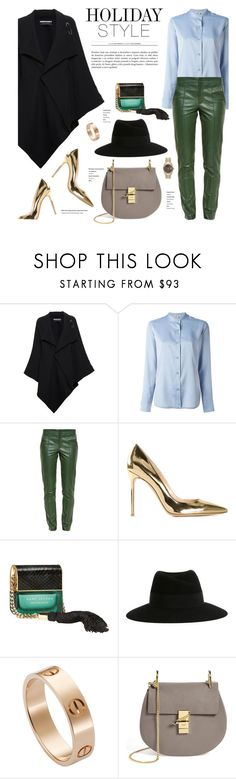"""""""Leather Pants"""" by stellaasteria ❤ liked on Polyvore featuring Roland Mouret, Helmut Lang, Gucci, Gianvito Rossi, Marc Jacobs, Maison Michel, Cartier and Chloé"""