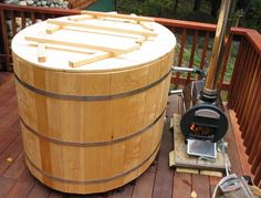 Japanese bath: ofuro, with wood fired heater: chofu.  On our deck.