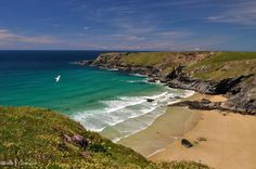Pentire Steps beach, Cornwall.  The beach is accessible via a windy path leading from the clifftop.