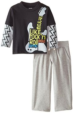 Gerber Graduates Baby Boys Long Sleeve Top and Grey Pant Set Guitar 24 Months * Learn more by visiting the image link.